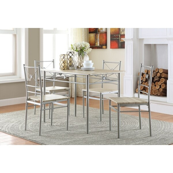 Silver Orchid Smolova Transitional brushed Silver 5-piece Dining Set. Opens flyout.