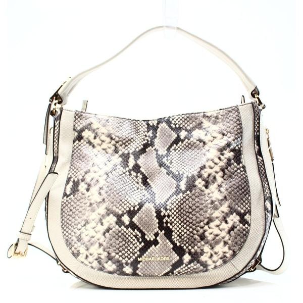 c4b90b7c4dc4b1 Shop Michael Kors NEW Ivory Python Emboss Leather Julia Shoulder Bag ...