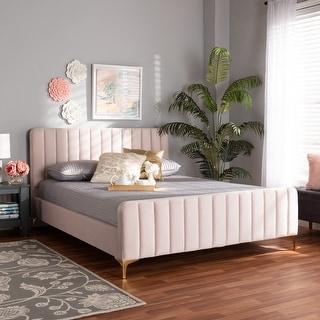 Link to Nami Modern Light Pink Velvet and Gold Full Size Platform Bed Similar Items in Bedroom Furniture