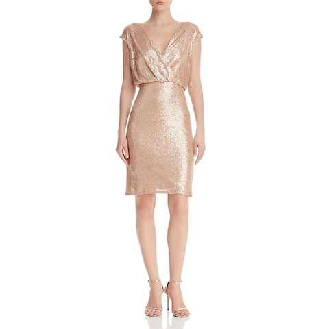 Tadashi Shoji Womens Petites Cocktail Dress Sequined Blouson