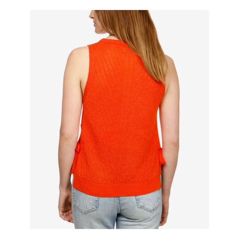LUCKY BRAND Womens Orange Side Tie Sleeveless Sweater Size: S