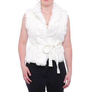 XOXO Women Faux Fur Trim Sweater Vest Vest Ivory