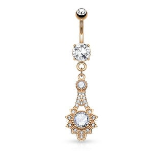 Micro Pave CZ Tribal Sun Dangle Surgical Steel Belly Button Navel Ring - 14GA (Sold Ind.)