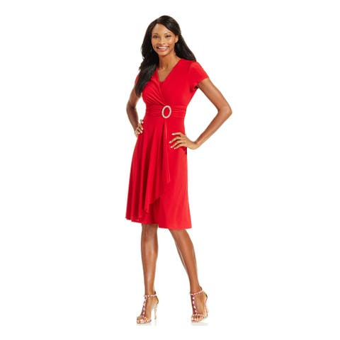 R&M RICHARDS Red Long Sleeve Above The Knee Dress 12P