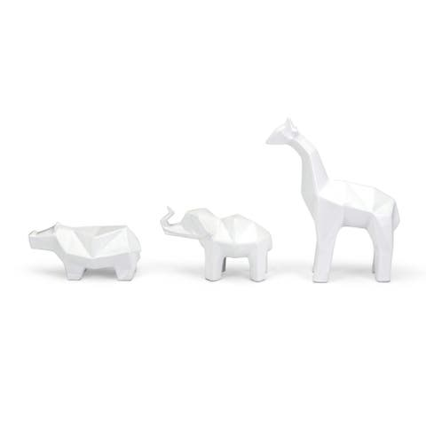 Set of 3 White Decorative Jungle Friends Standing Tabletop Figures