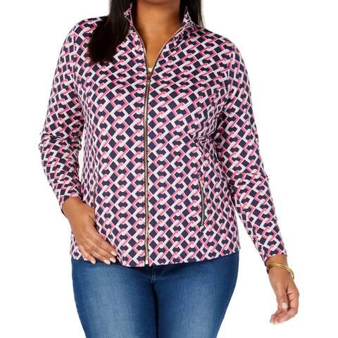 Charter Club Women's Jacket Pink Size 2X Plus Chain Print Zip Front