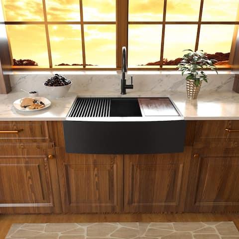 "YASINU 33"" W x 22"" D Stainless Farmbouse Apron Front Kitchen Sink 16 Gauge Single Bowl Sink - 33"" W x 22"" D"