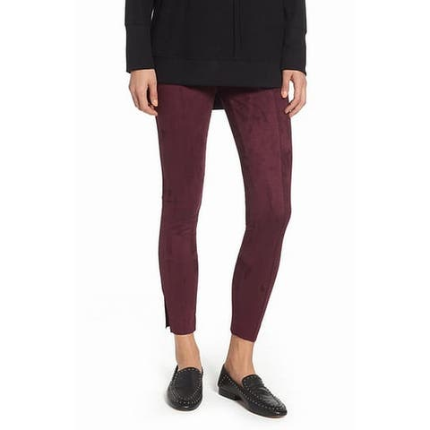 Zeza B Womens Leggings Dark Red Size Medium M Pull On Seamed Ankle
