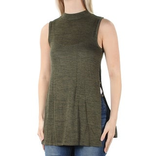 FRESHMAN FOREVER $19 Womens New 1645 Green Slitted Sleeveless Top S Juniors B+B