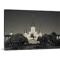Premium Thick-Wrap Canvas entitled Andrew Jackson's statue in front of St. Louis Cathedral, Jackson Square, New Orleans