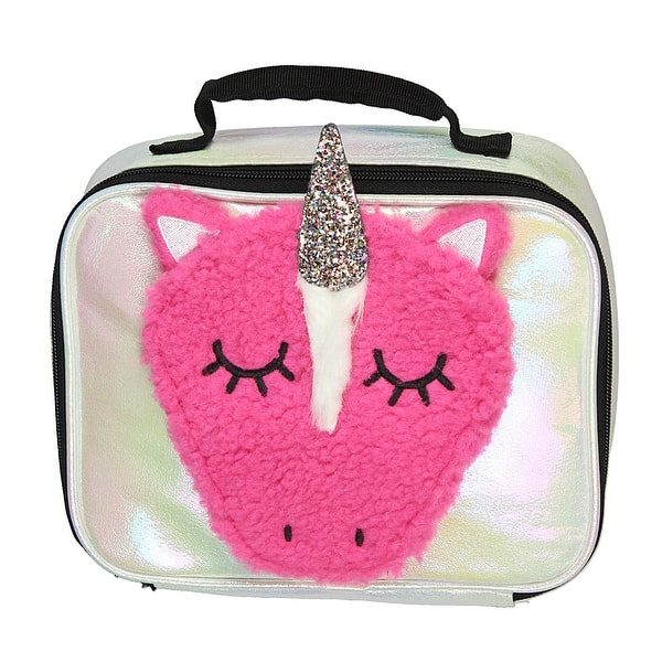 Unicorn Lunch Box Insulated Tote Kit Fuzzy 3D Glitter Horn