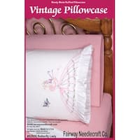 "Stamped Ruffled Edge Pillowcases 30""X20"" 2/Pkg-Butterfly Lady"