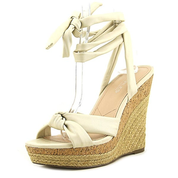 Charles By Charles David Aaron Women Open Toe Canvas Ivory Wedge Sandal