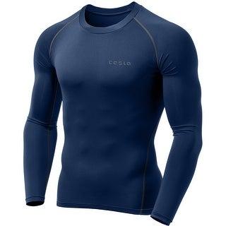 Tesla MUD01 Cool Dry Long Sleeve Compression Shirt - Navy/Dark Gray
