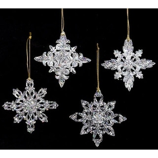 shop club pack of 24 icy crystal clear filigree snowflake christmas ornaments free shipping today overstockcom 16656973