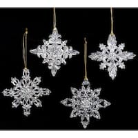 Club Pack of 24 Icy Crystal Clear Filigree Snowflake Christmas Ornaments