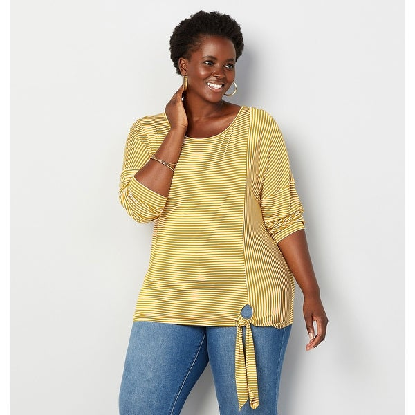 aa4dc215e761c Shop AVENUE Women's Mixed Stripe Side Tie Top - Yellow - Free Shipping On  Orders Over $45 - Overstock - 27423684