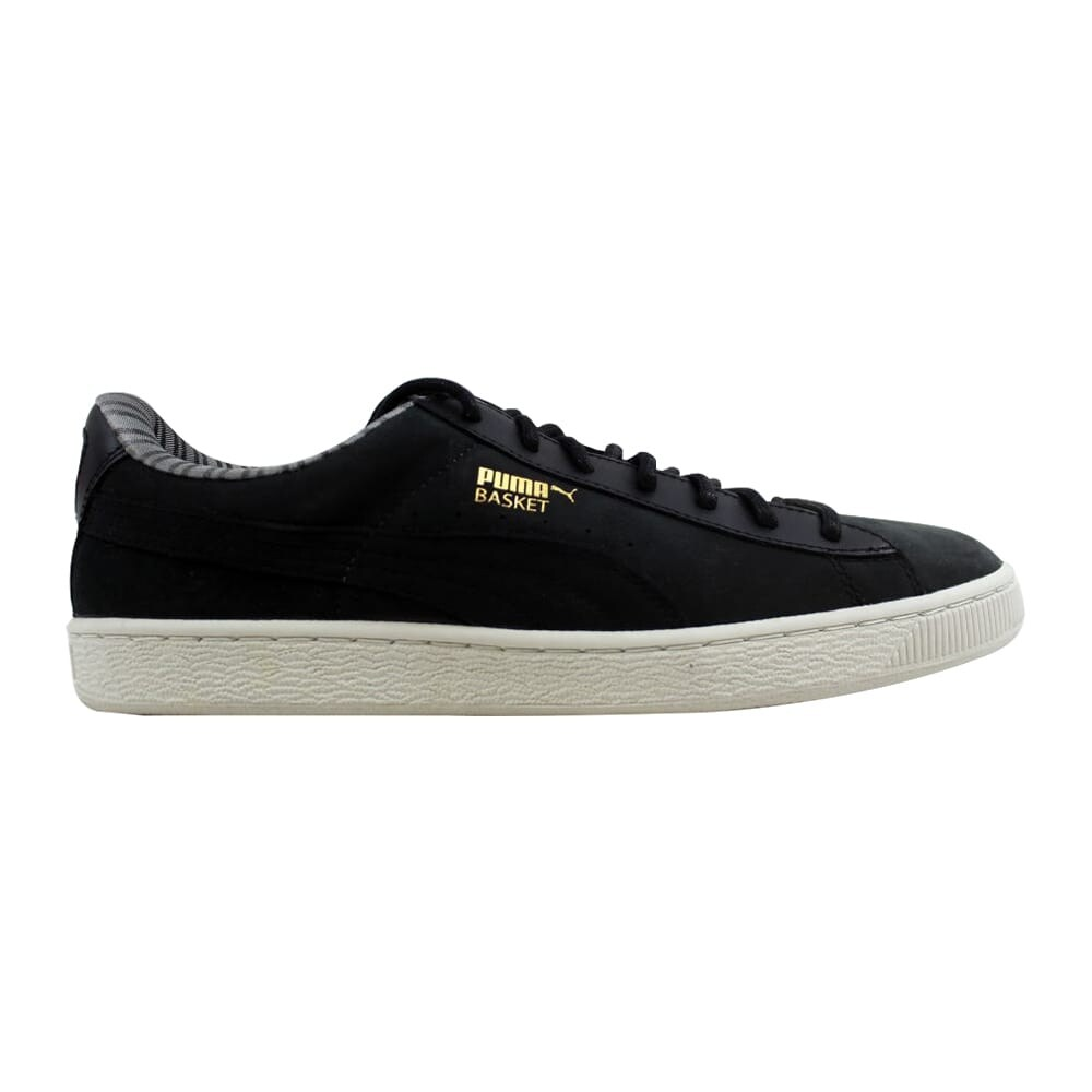 Online Men Puma Basket Mid GTX Round Toe Leather Sneakers Black