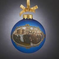 "3.5"" Blue Downton Abbey Season 5 Portrait Glass Christmas Ball Ornament"
