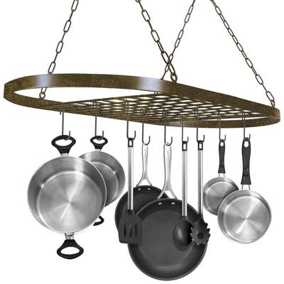 """Ceiling mounted Pot Rack with Hooks-Rustic - 31.50"""" x 16.50"""" x 21"""""""
