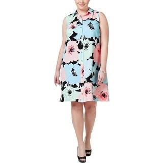 Calvin Klein Womens Plus Shirtdress Printed Button-Up
