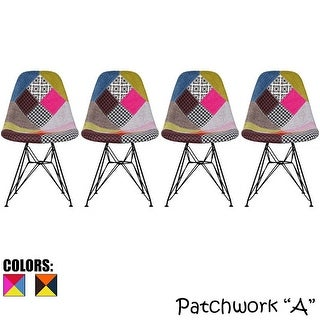 2xhome Set Of Four (4)- Eames Style Bedroom & Dining Room Side Ray Chair with Black Wire Eiffel Chromel Metal Leg Base