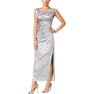 Connected Apparel Womens Evening Dress Metallic Full-Length