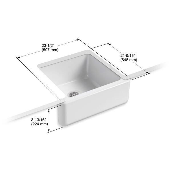Kohler K-5665 Whitehaven 23-1/2in Single Basin Under-Mount Tall Apron Front  Cast Iron Kitchen Sink
