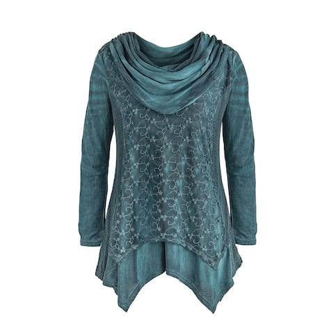 Catalog Classics Women's Lace Embroidered Teal Tunic Top - Cowlneck Long Sleeves