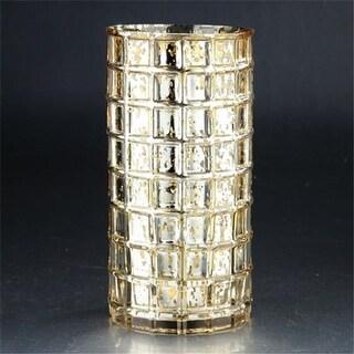 Diamond Star 57054 10 x 5 in. Glass Vase, Gold