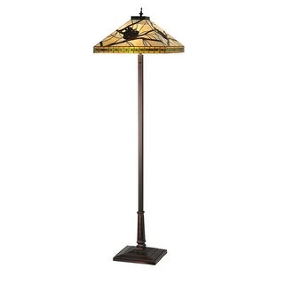 Meyda Tiffany 106508 Two Light Up Lighting Floor Lamp from the Pine Branch Collection - mahogany bronze