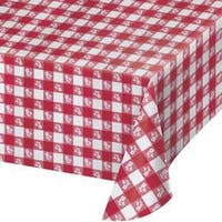 """Red - Gingham Plastic Tablecover 54""""X108"""""""