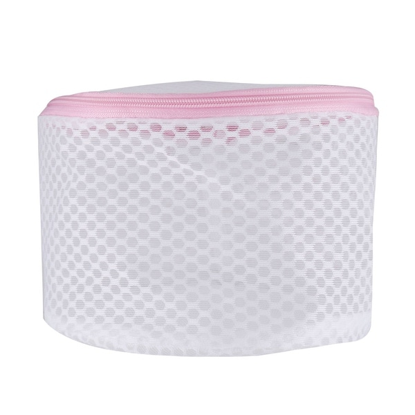 Home Polyester Cylinder Shape Zipper Closure Design Underwear Sock Washing Cleaning Bag White