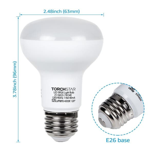 Shop 7 5w Dimmable Br20 Led Bulb 4000k Cool White 525lm Pack Of 8 1 Overstock 21616903