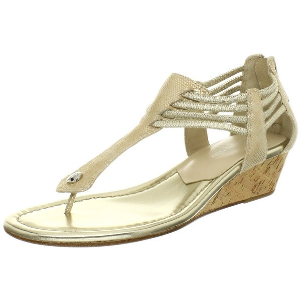 Donald J Pliner Womens Dyna Wedge Thong Sandals Natural Size 110