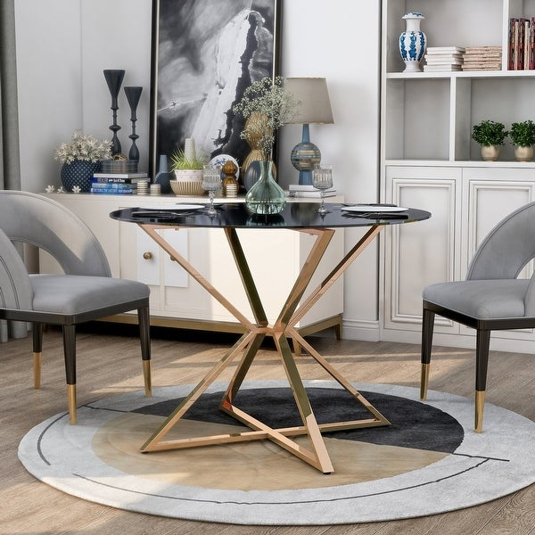 Furniture of America Elfenda Contemporary Gold Glass Top Dining Table. Opens flyout.