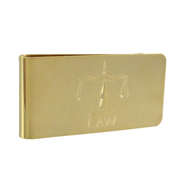 Gold Plated Etched Law Scales Money Clip