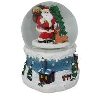 """6"""" Musical Santa Claus with Christmas Tree and Reindeer Snow Globe - WHITE"""