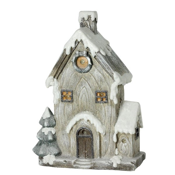 "30"" LED Lighted Battery Operated Rustic Glittered House Christmas Decoration"