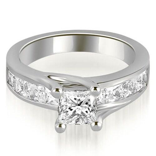 1.05 cttw. 14K White Gold Princess Cut Channel Engagement Diamond Ring