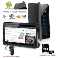 Indigi® Factory Unlocked 3G 7.0inch HD DualSim SmartPhone & TabletPC w/ Built-in SmartCover + Bundle Included(Black) - Black