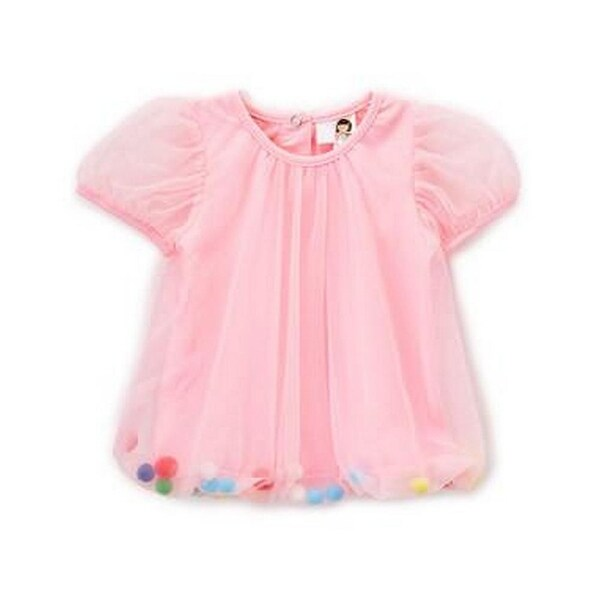 Wenchoice Baby Girls Pink Cupcake Rainbow Pom-Pom Top