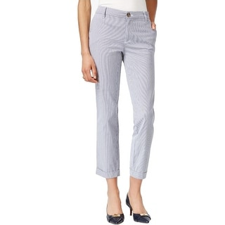 Tommy Hilfiger Womens Hampton Casual Pants Pinstripe Skinny Ankle