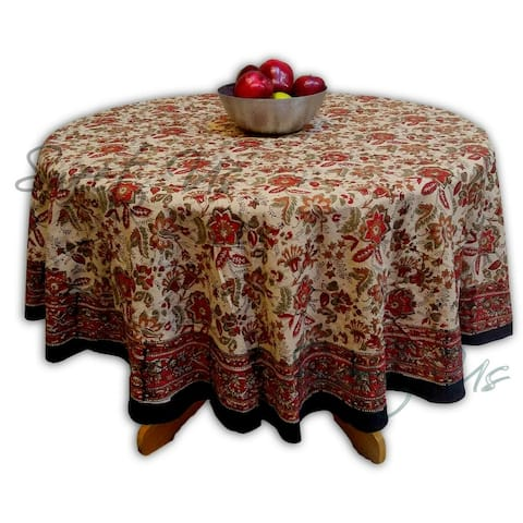 Floral Block Print Cotton Round Tablecloth Rectangle Square Beige Red Green Jaipur Autumn Table Linen