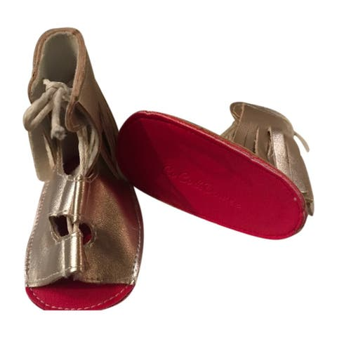 Baby Girls Gold Red Soft Sole Faux Leather Gladiator Strappy Sandals 3-18M - 3-6 Months