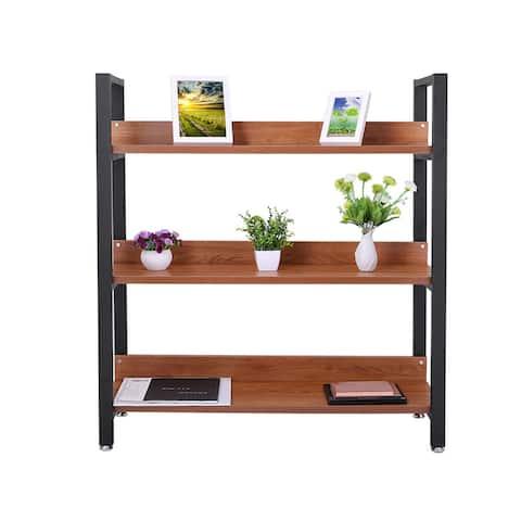 Solid Wood and Metal 43 inch x 40 inch Bookshelf Shelf Storage Shelf