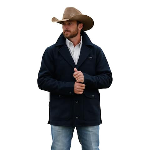 Miller Ranch Western Jacket Mens Wool Lined Button Navy