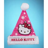 "17"" Pink Hello Kitty Christmas Santa Hat with White Faux Fur Trim"