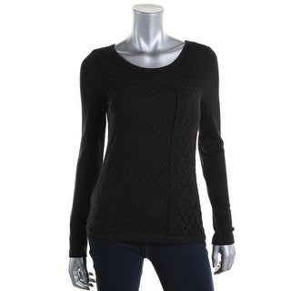 Lucky Brand Womens Thermal Lace Overlay Pullover Top