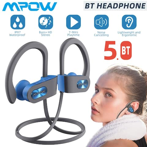 Mpow Flame Bluetooth Headphones V5.0 IPX7 Waterproof Wireless Headset, cVc6.0 Noise Cancelling Mic for Home Workout, Multicolors